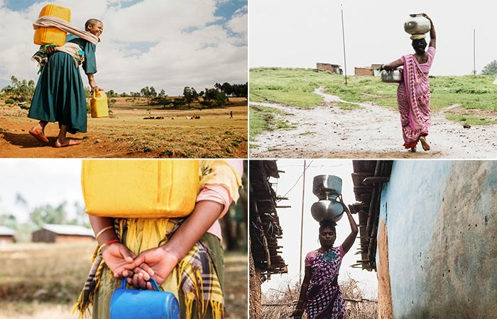 Four Images Of Women Carrying Water