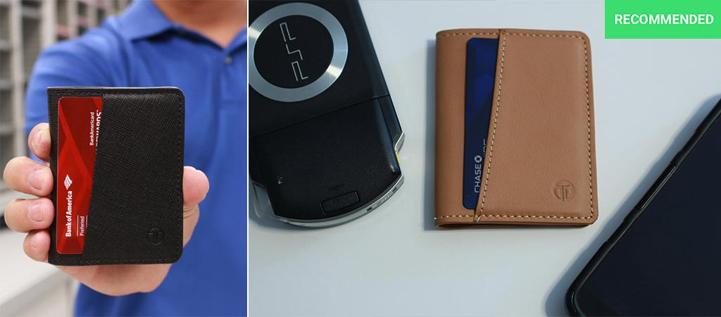 Black Tyni Wallet being held by someone and holding a card as well as the Tan Bifold version