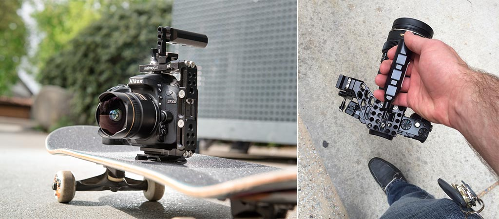 Camera inside Walimex Aptaris on skateboard and a top view with the handle