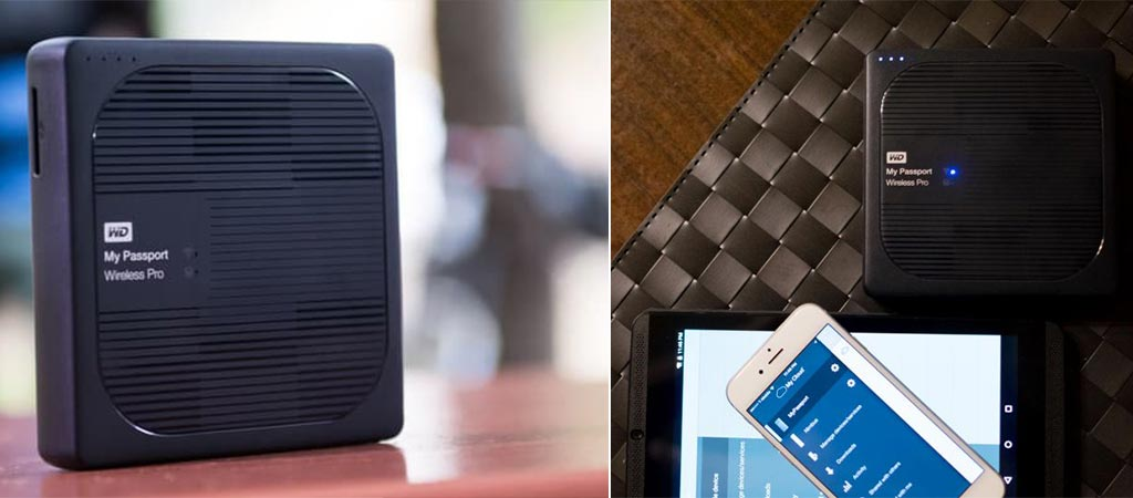 Two different views of the WD My Passport Wireless Pro External Hard Drive