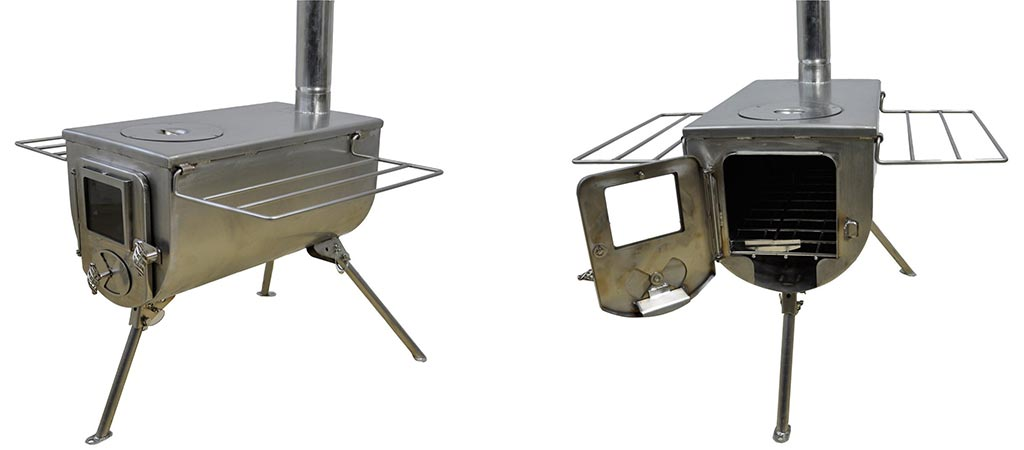 Two different views of the Winnerwell Woodlander Deluxe Wood Stove