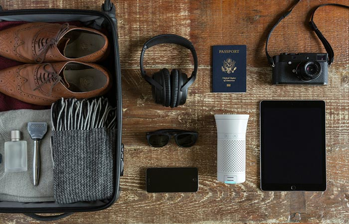 Wynd Personal Air Purifier Together With Other Travel Items