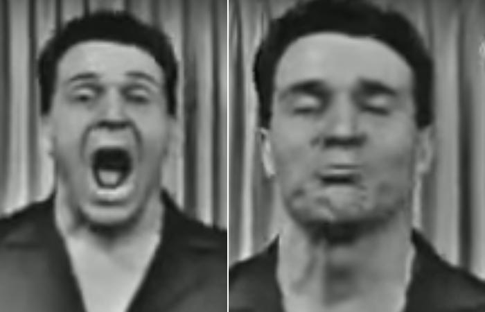 Jack Lalanne Doing Jaw Opening Exercise
