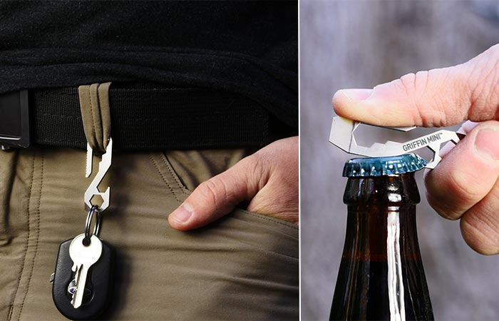 Carrying Griffin Pocket Multi Tool On A Belt Loop And Opening A Bottle Of Beer With It