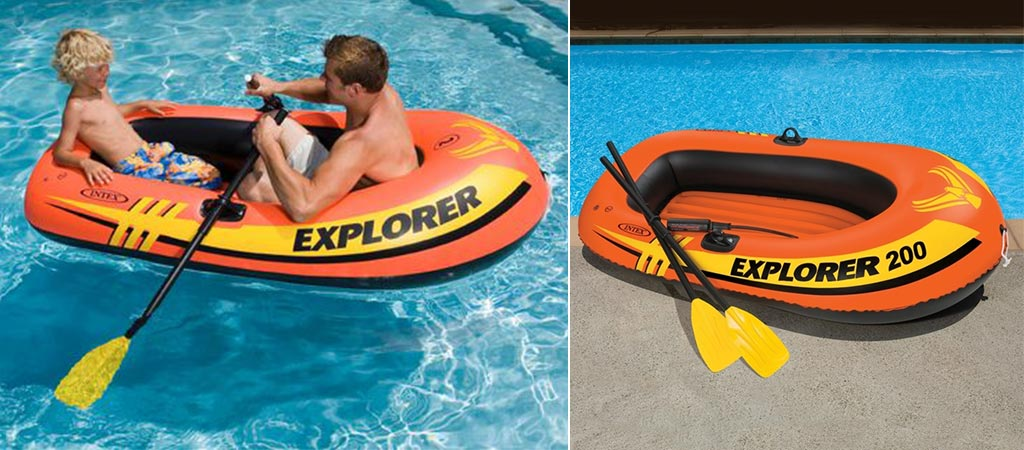Kids using the Intex Explorer 200 in a pool and a picture of it on the side of the pool