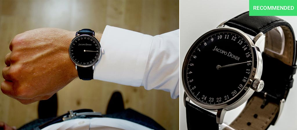 Black Jacopo Dondi watch with a black strap by itself and model wearing it on wrist.