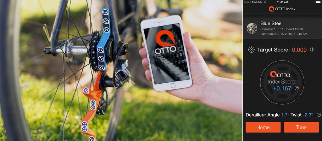 Otto on bicycle with the smartphone app and a shot of the application