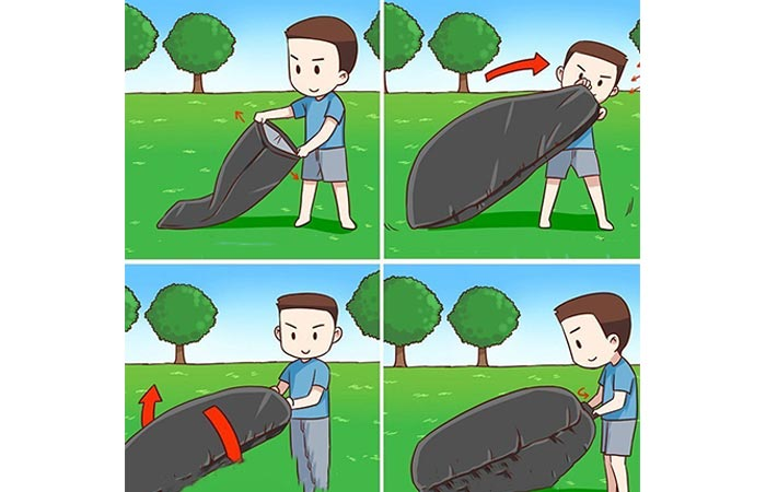 Cartoon that shows how to inflate the SENQIAO lounger