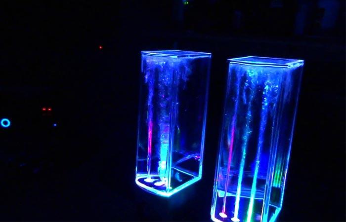 SoundSoul Dancing Water Speakers being used in a dark room