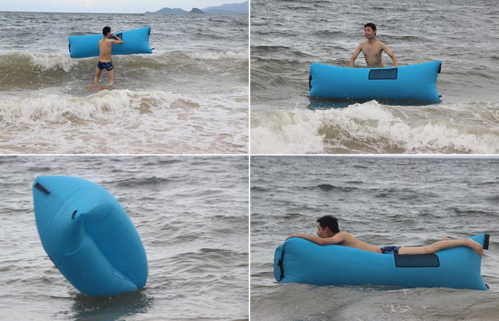 Man using the BonClare as a toy in the ocean