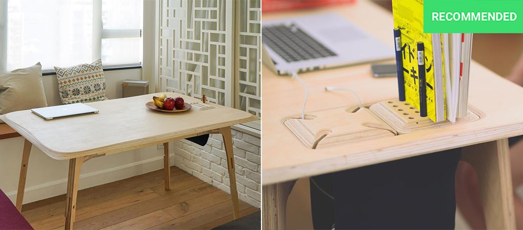 Butterply Large desk with modular organizer