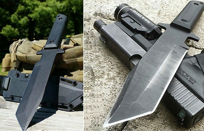 Two different views of the Cold Steel GI Tanto with it's sheath and on top of a pistol