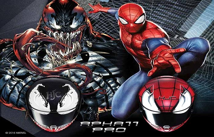 HJC cover art for spiderman and venom helmets