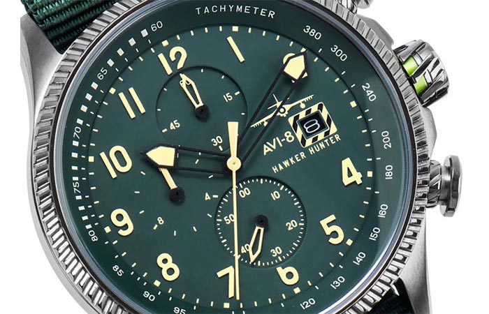 Close up of Hawker Hunter watch dial