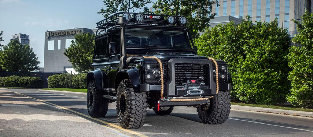 Land Rover Defender 90 Spectre Edition standing outside