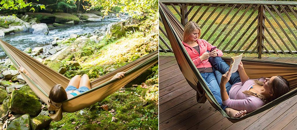 Two different views of women using the Legit Camping Double Hammock