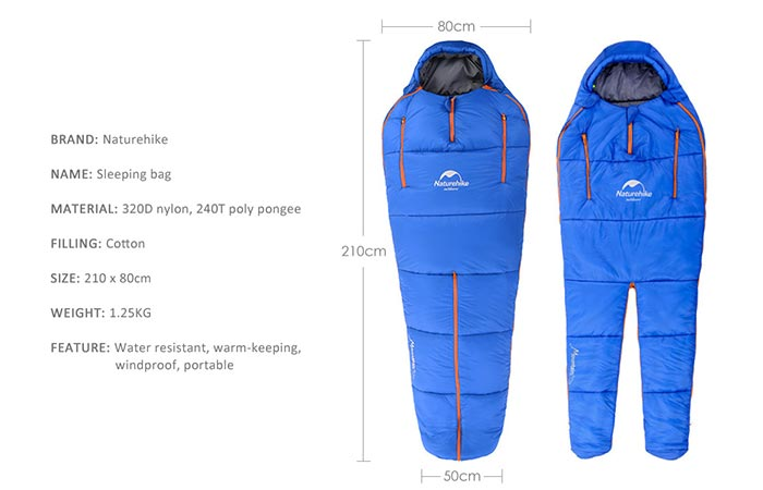 Naturhike Sleeping Bag Materials And Size Measurements