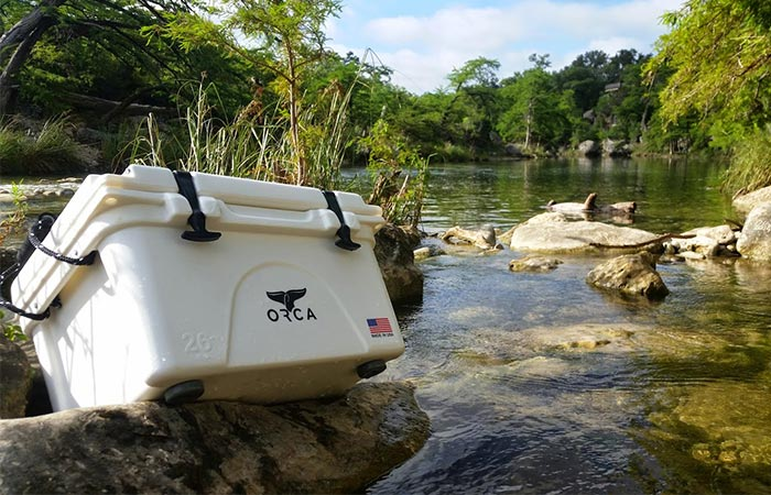 White Orca Heavy Duty Cooler On A Rock