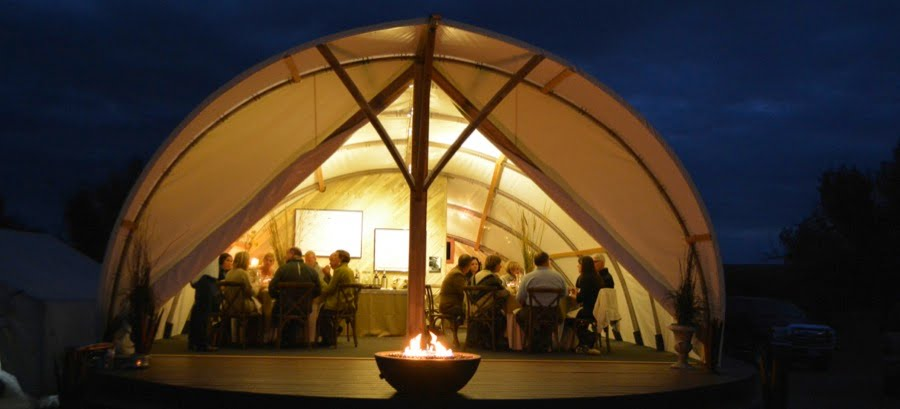 People having a function inside the Autonomous Tent