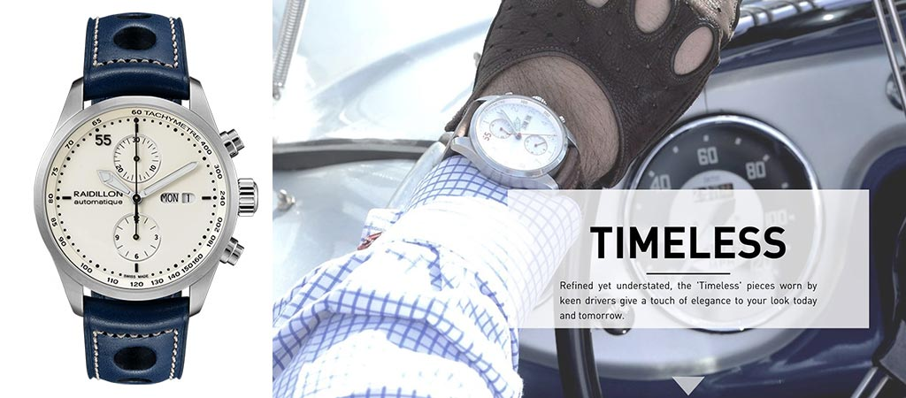 Raidillon TImeless Cover picture next to their Timeless 42 Chronograph