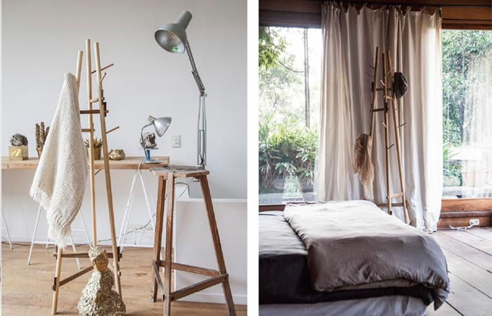 Two different views of the Sticotti Coat Rack