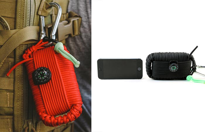 Survival Grenade attached to a backpack and one next to a smartphone