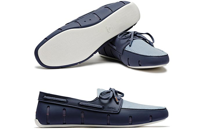 Navy and white SWIMS sports loafers