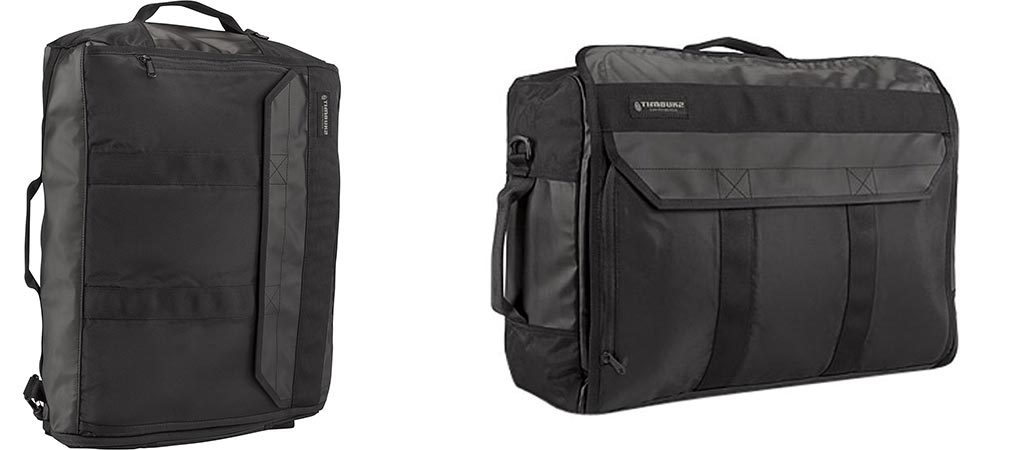 Two different views of the Timbuk2 Wingman Travel Backpack