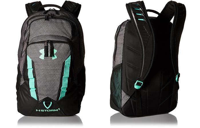 Two different views of the Under Armour Storm Recruit Backpack