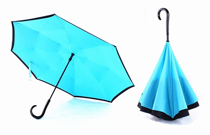 Blue UNDME Reverse Umbrella