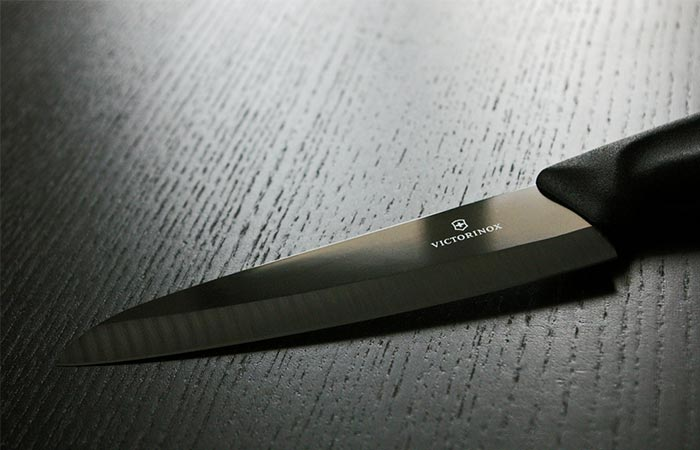 Victorinox Ceramic Carving Knife On A Black Table