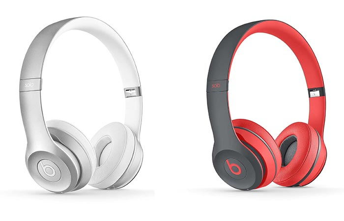 White and Red and Grey versions of the Beats Solo2 Wireless