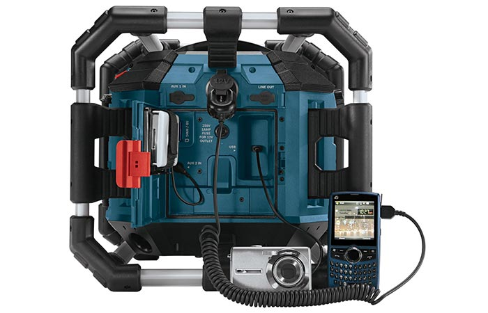 Bosch Power Box charging a camera and a phone