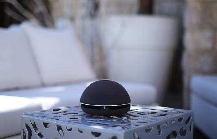 Black glazed Egloo on a table