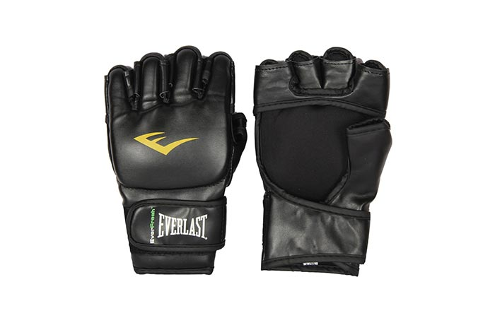 Everlast Mixed Martial Arts Grappling Gloves front and back view