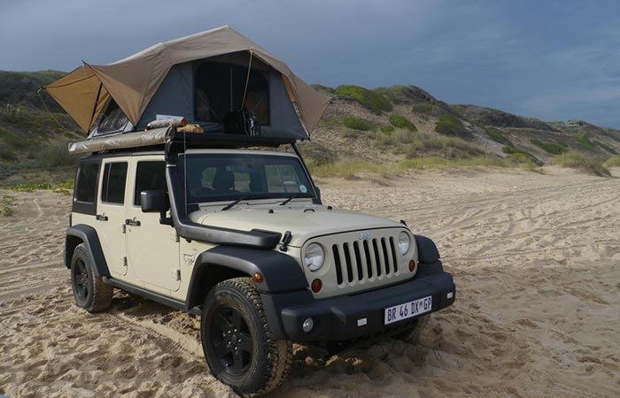 Feather-Lite on a Jeep on the beach
