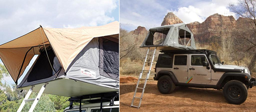 Two different views of the Feather-Lite rooftop tent