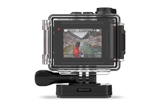 Garmin VIRB Ultra 30 back view in waterproof case