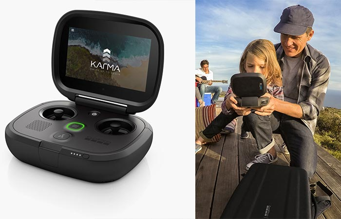 GoPro Karma Controller by itself and a photo of a young girl using it.