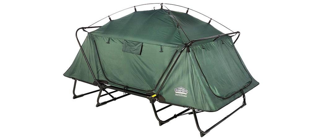 KampRite Double TentCot with its doors and windows closed without the rain fly