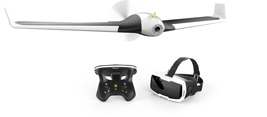 Parrot Disco with its remote and COCKPITGLASSES