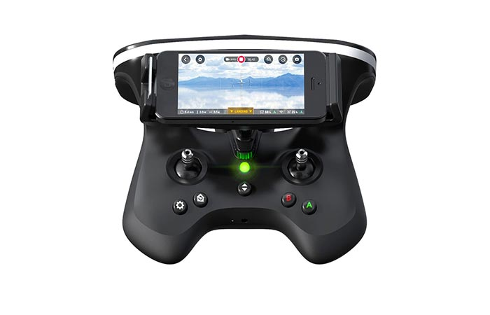 Parrot Disco FPV SkyController 2 with smartphone attached