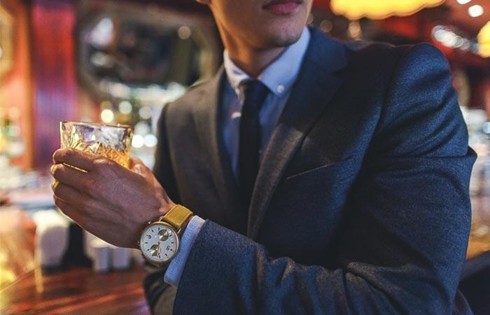 A Guy Wearing Gold Plan B Watch