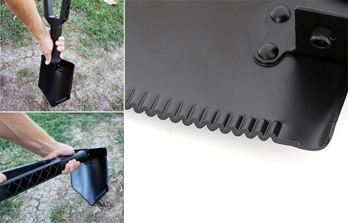 Three Images Of Smittybilt Foldable Shovel