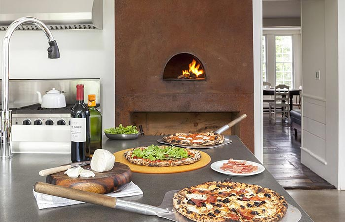 The Floating Farmhouse Fireplace And Pizza In The Kitchen