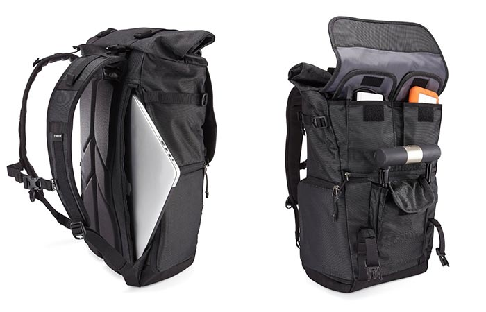 Compartments Inside Thule Covert DSLR Rolltop Backpack