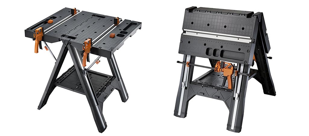 WORX Pegasus Folding Work Table in table mode and saw horse mode