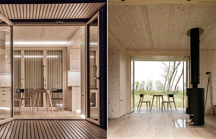 two images of Ark Shelter Prefabricated Cabin