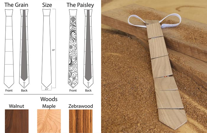The two different designs that Cam's Wooden Ties features and the three different types of wood. There is also a picture of The Grain version.