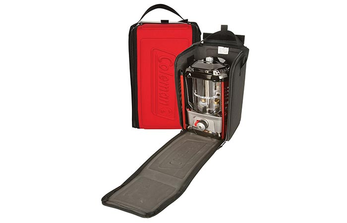 a lantern inside a soft carry case
